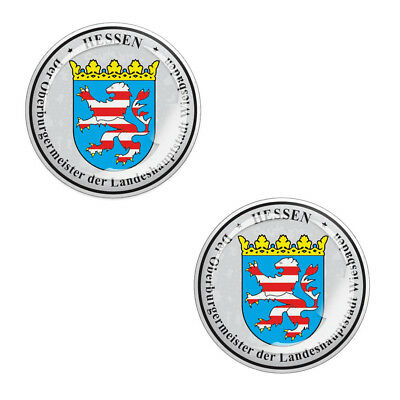 2 x 3D Gel Domed Stickers Decals Hessen Stadt Number Plate Seal Resin Badge G 7