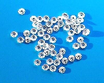 100 silver plated, 3.5mm diameter, fluted bead caps, findings for jewellery