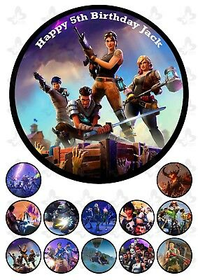 Fortnite Edible Cake Topper Image PERSONALISED + 12 extra cupcake Toppers     V2