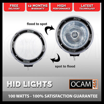 2X 7INCH HID 100W Driving Lights XENON Spot Offroad Lamp UTE WORK BLK 4WD