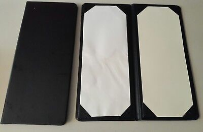 "New 16 Lot Double Fold Menu Covers-Book Style Black-11.75"" x 5"" (L x W)"