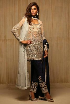 Pakistani Sania Maskatiya maria b copy 2 dupatta Net Emb wedding & party wear