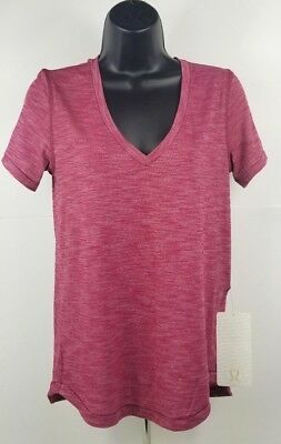 Lululemon Athletica Womens What The Sport Tee Dark Pink T-SHIRT NWT 6