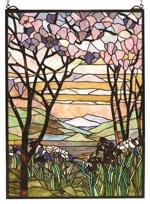 22 in. Magnolia and Iris Stained Glass Window [ID 3407377]