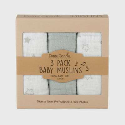 Petite Piccolo Baby Muslin 3-Pack with Moon & Stars Design