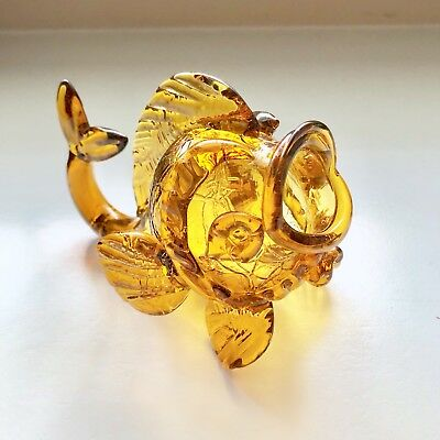 Antique Amber Art Glass Fish Sculpture Vase Figurine