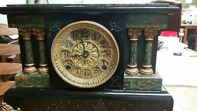 Antique Seth Thomas 4 Column Green Black Adamantine Mantle Clock RARE ***