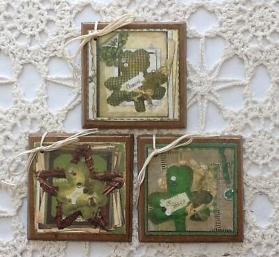 5 **NEW** Handcrafted Wooden St. Patrick's Ornaments / IRISH Hang Tags SET4d