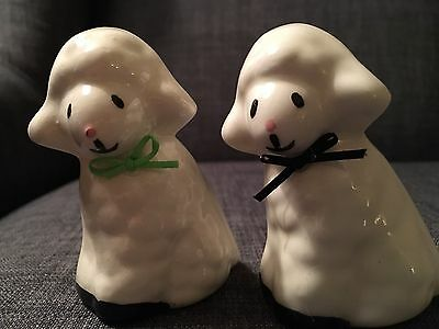 Vintage White Glass Lamb/Sheep Figurines 2 Painted Shepherds of Union Grove WI