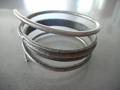 Coiled coin silver hill tribe bracelet From Laos SE Asia - 74.9 grams