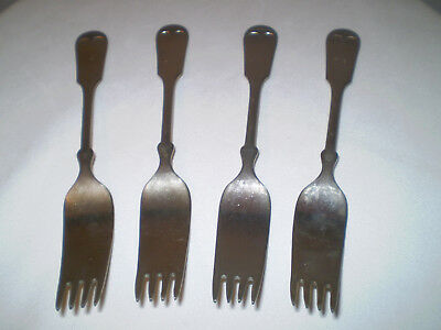 Antique Nickel Silver Forks ~ Lot of 4 ~ 200 Grams ~ Short Tines ~ Two Numbered