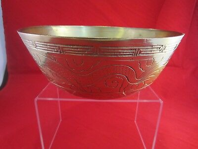 Vintage Antique Chinese Brass Bowl Carved Pattern Stamped China 9""