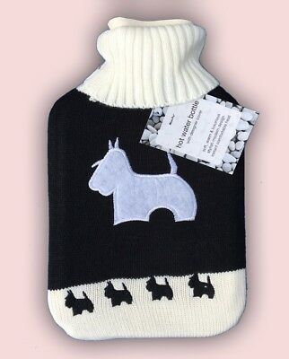 NEW FULL SIZE Scotty DOG Hot Water Bottle 2 Lt with knitted cover UK SELLER