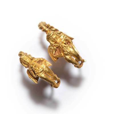 A fine pair of gold figural Eros earrings, Hellenistic Period, 4th-3rd Century B