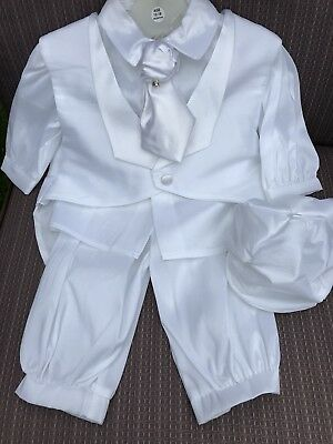 Baby Boys White Christening outfit Suit 0-18 Month Waistcoat Tie Pants Shirt Cap