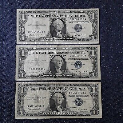 1957 B SERIES $1 Dollar Bill Silver Certificate Blue Seal Circulated ...