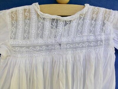 Antique  Edwardian babys childs dress robe nightdress embroidery lace D