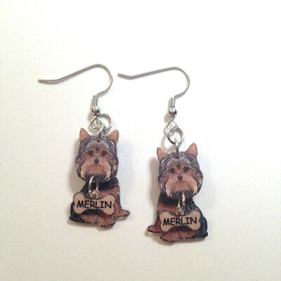 Yorkshire Terrier Dog  3D Dangle Earrings Personalized w/Name Made in USA