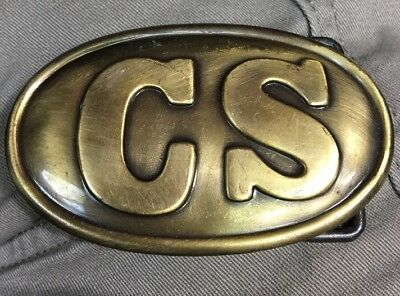 "3"" Brass CS Civil War Infantry Soldier CSA Army Soldiers Confederate Belt Buckle"