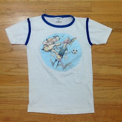 Vintage 70s Paper Thin 50/50 Soccer/Football Cartoon Ringer T Shirt - Youth S/M