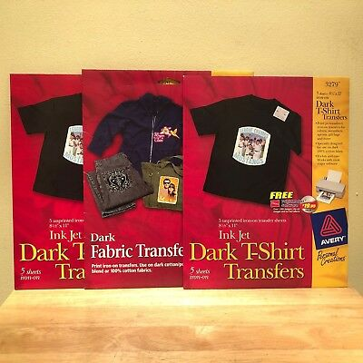 3 PACKS Avery Dark T-Shirt Iron-on Transfer Paper AVE 3279 8.5 x 11 LOT