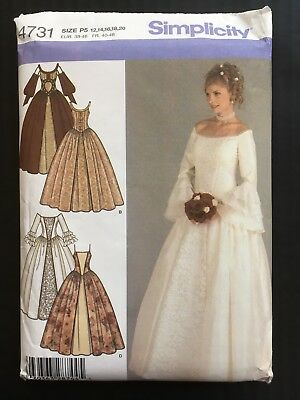 Simplicity Wedding Dress Pattern #4731 12 14 16 18 20 Medieval Renaissance Tudor