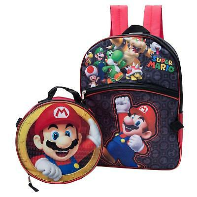 Super Mario Bros Brothers Boys Backpack with Detachable Insulated Lunch Bag