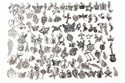 50pcs Assorted charms Antique Silver plated charms bulk lot mixed vintage