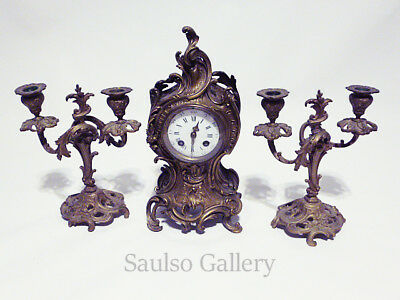 Antique French Rococo Mantel clock with a pair of Louis XV Candelabras 1875-90