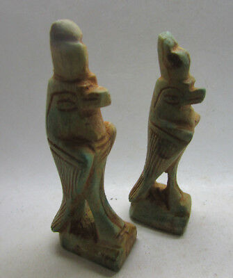 Lot Of 2 Undated Egyptian Glazed Horus Figures