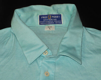 Vintage 70's FRED PERRY Mercerized Cotton Lightweight Retro Polo Shirt L 40/42