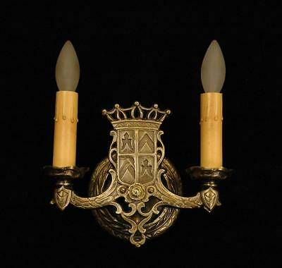 Vintage 1920's Two Arm Restored Moorish Gothic Tudor Revival Brass Wall Sconce