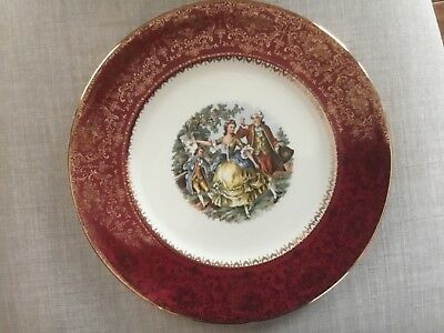 Imperial Salem China Co. 23 karat gold red plate-10.75""
