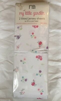 Mothercare My Little Garden Pack Of 2 Fitted Jersey Cot Bed Sheets Bnip