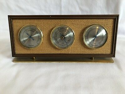 Vintage Retro MCM Wood And Burlap Jason Table Desk Weather Station