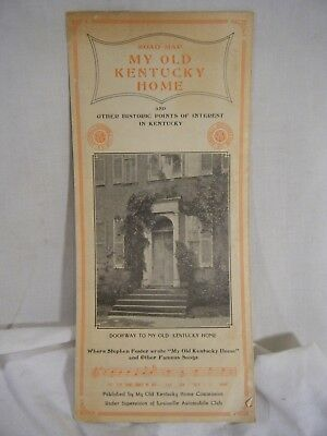 1930's AAA My Old Kentucky Home Road Map Stephen Foster Foldout