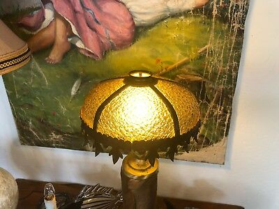 "Pair 10"" Antique Bent Amber Stained Glass & Painted Tin Chandelier Lamp Shades"