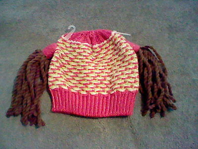 Brand New Girl's Knit Beanie With Brown Pig Tails