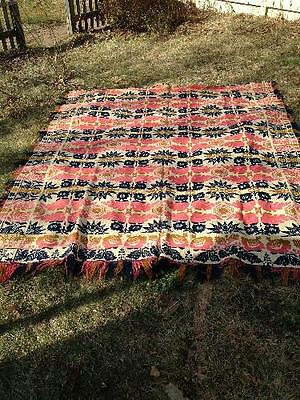 "Rare 1861 Antique Jaquard Coverlet Woven by John Kachel 76"" by 90"""