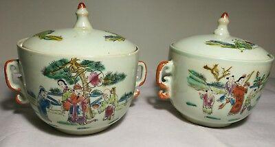 Chinese hand painted figures porcelain lidded bowls 4 character marked  2pcs