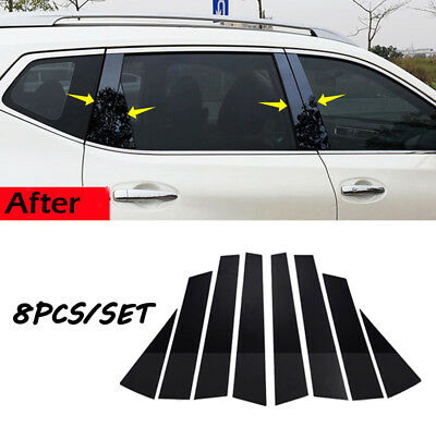 Black Pillar Posts For Nissan Qashqai 2016-18 8pcs Door Trim Piano Cover Window