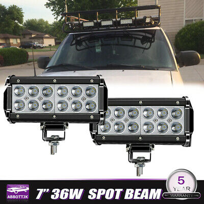 2x 7INCH 36W FLOOD CREE LED WORK LIGHT BAR OFFROAD ATV FOG TRUCK mining 4WD 12V