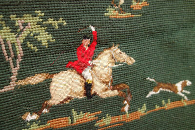 Vintage Completed Needlepoint Canvas England Fox Hunting Tapestry