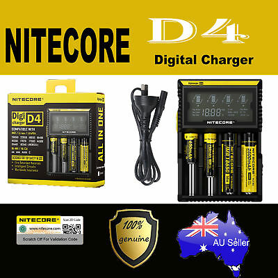 Nitecore D4 4 slot Smart Battery charger Lithium 17500 14500 10440 16340 RCR123