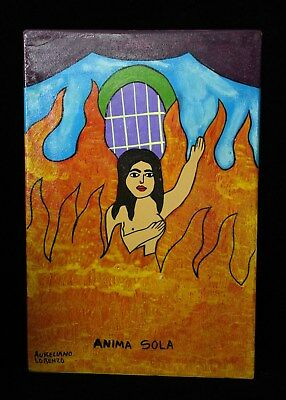 Mexican Folk Art Painting of Anima Sola Lonely Soul Flames of Purgatory Lorenzo