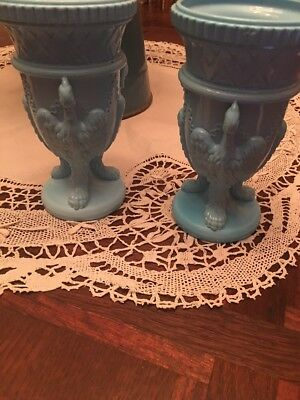 ANTIQUE c. 1880 PAIR BLUE DEPRESSION GLASS EDWARD MOORE GRIFFIN VASES