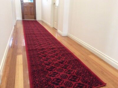 Dalia Afghan Red Black Hallway Runner Traditional Hall Runner Rug 3 Metres Long