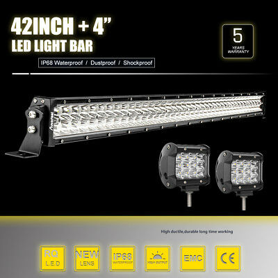 """42 inch CREE LED Light Bar Combo Flood + 2x 4"""" Pods Spot For Ford 4WD Jeep SUV 7"""