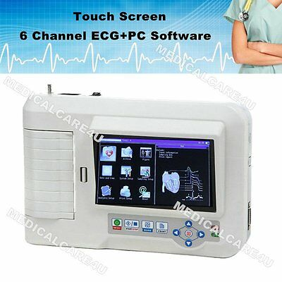 CE, 6 Channel Color Touch ECG Machine EKG electrocardiograph USB Software