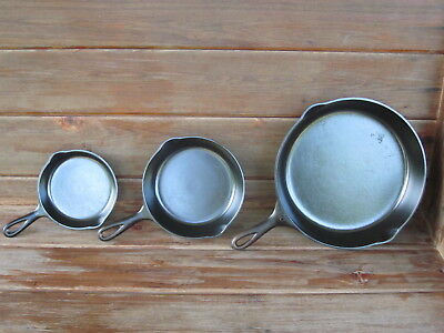 3 Vintage Wagner Wear Sidney O Cast Iron Skillet Lot #3~#5~#10 Restored~Seasoned